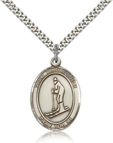 Sterling Silver St. Christopher Skiing Medal with Chain Pendant