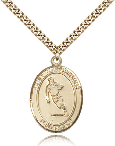 Gold Filled St. Christopher - Rugby Medal with Chain Pendant