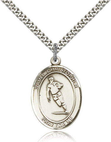 Sterling Silver St. Christopher Rugby Medal with Chain Pendant