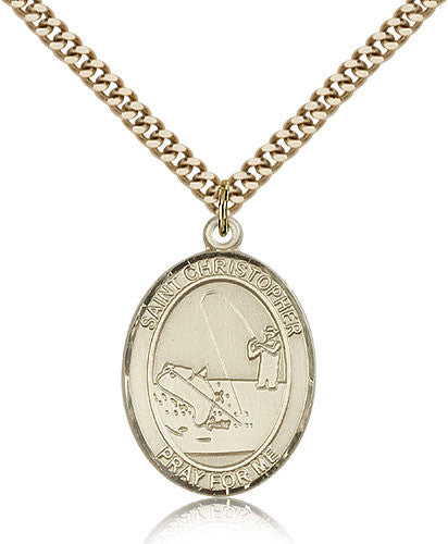 Gold Filled St. Christopher - Fishing Medal with Chain Pendant