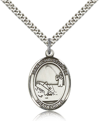 Sterling Silver St. Christoper Fishing Medal with Chain Pendant