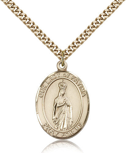 Gold Filled Our Lady of Fatima Medal with Chain Pendant