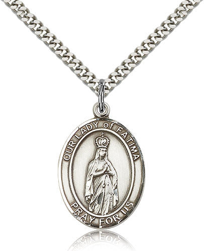 Sterling Silver Our Lady of Fatima Medal with Chain Pendant Large