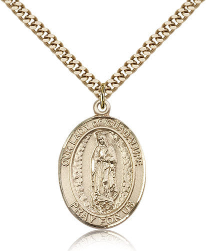 Gold Filled Our Lady of Guadalupe Medal with Chain Pendant