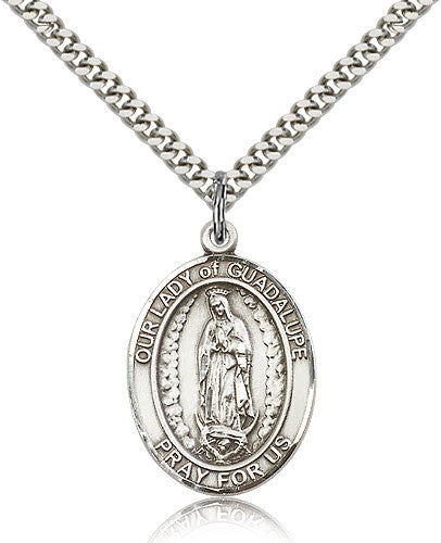 Sterling Silver Our Lady of Guadalupe Medal with Chain Pendant Large