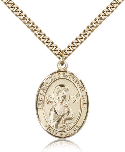 Gold Filled Our Lady of Perpetual Help Medal with Chain Pendant
