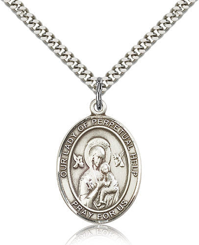 Sterling Silver Our Lady of Perpetual Help Medal with Chain Pendant Large