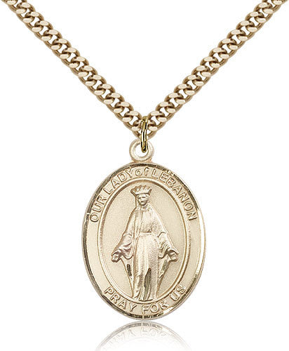 Gold Filled Our Lady of Lebanon Medal with Chain Pendant