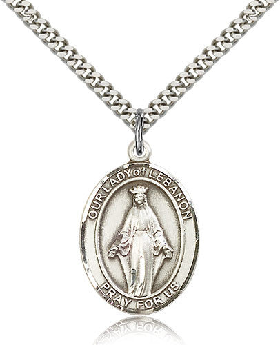 Sterling Silver Our Lady of Lebanon Medal with Chain Pendant Large