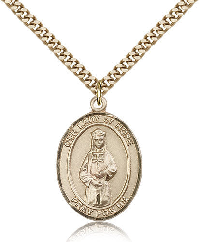 Gold Filled Our Lady of Hope Medal with Chain Pendant