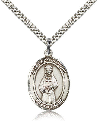 Sterling Silver Our Lady of Hope Medal with Chain Pendant Large