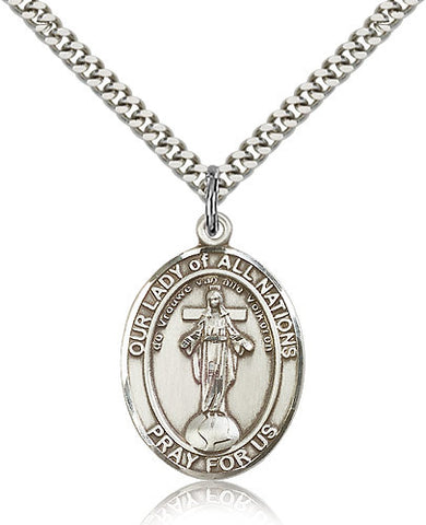 Sterling Silver Our Lady of All Nations Medal with Chain Pendant Large
