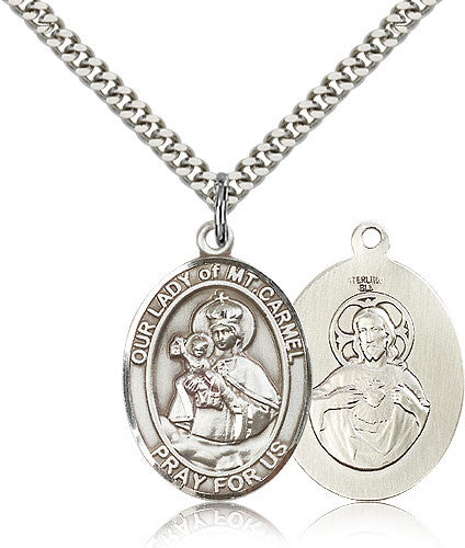 Sterling Silver Our Lady of Mount Carmel Medal with Chain Pendant Large