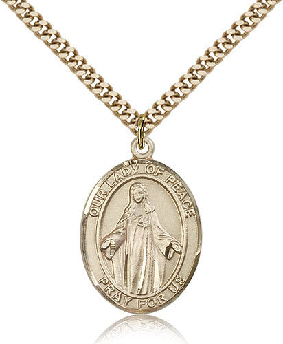 Gold Filled Our Lady of Peace Medal with Chain Pendant