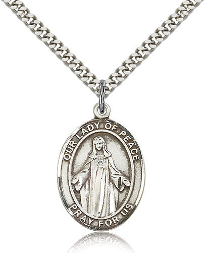 Sterling Silver Our Lady of Peace Medal with Chain Pendant Large