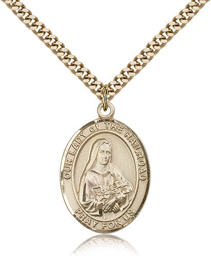 Gold Filled Our Lady of the Railroad Medal with Chain Pendant