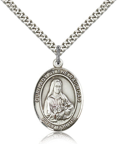 Sterling Silver Our Lady of the Railroad Medal with Chain Pendant Large
