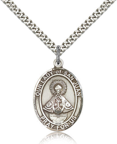 Sterling Silver Our Lady of San Juan Medal with Chain Pendant Large