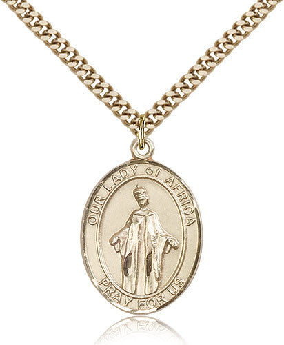 Gold Filled Our Lady of Africa Medal with Chain Pendant