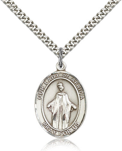 Sterling Silver Our Lady of Africa Medal with Chain Pendant Large