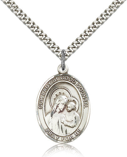 Sterling Silver Our Lady of Good Counsel Medal with Chain Pendant Large