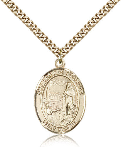 Gold Filled Our Lady of Lourdes Medal with Chain Pendant