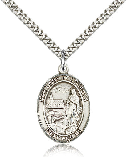 Sterling Silver Our Lady of Lourdes Medal with Chain Pendant Large