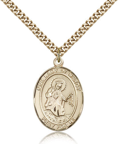Gold Filled Our Lady of Mercy Medal with Chain Pendant