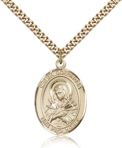 Gold Filled Mater Dolorosa Medal with Chain Pendant