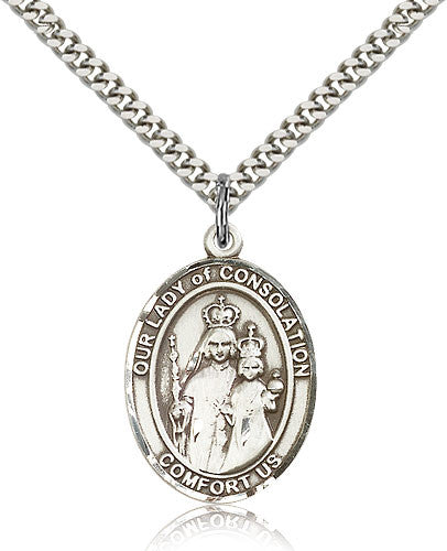 Sterling Silver Our Lady of Consolation Medal with Chain Pendant Large