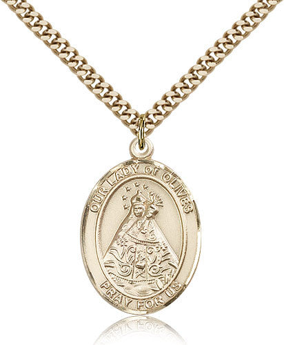 Gold Filled Our Lady of Olives Medal with Chain Pendant