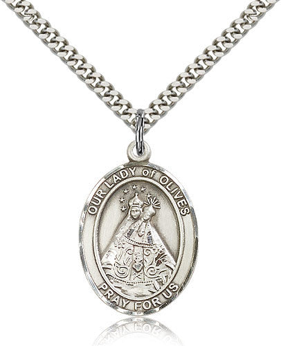 Sterling Silver Our Lady of Olives Medal with Chain Pendant Large