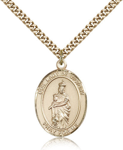 Gold Filled Our Lady of Victory Medal with Chain Pendant