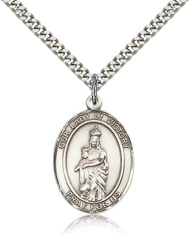 Sterling Silver Our Lady of Victory Medal with Chain Pendant Large
