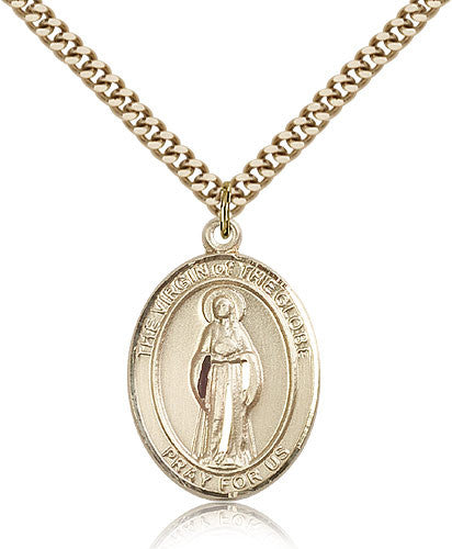 Gold Filled Virgin of the Globe Medal with Chain Pendant