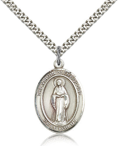 Sterling Silver Virgin of the Globe Medal with Chain Pendant Large