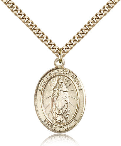 Gold Filled Our Lady of Tears Medal with Chain Pendant