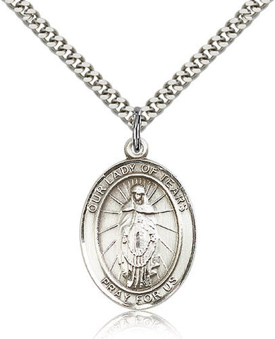 Sterling Silver Our Lady of Tears Medal with Chain Pendant Large