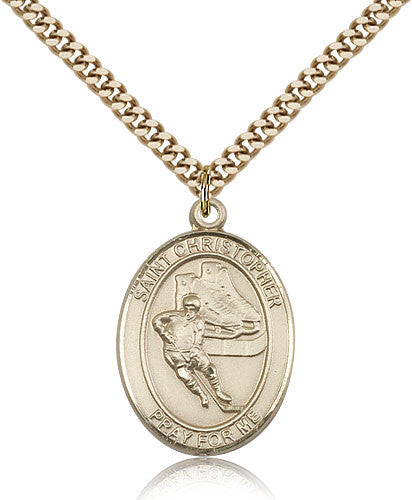 Gold Filled St. Christopher - Hockey Medal with Chain Pendant