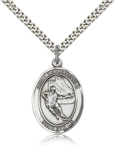 Sterling Silver St. Christopher Hockey Medal with Chain Pendant
