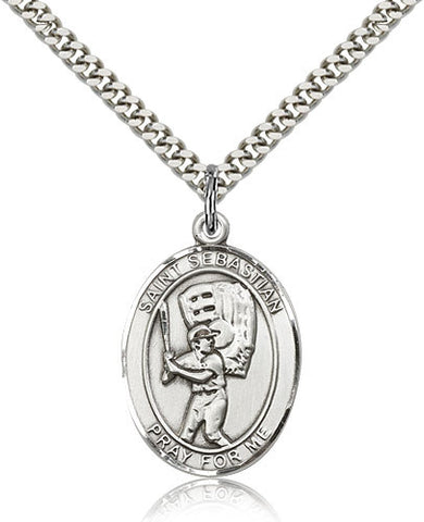 Sterling Silver St. Sebastian Baseball Medal with Chain Pendant