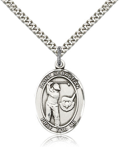 Sterling Silver St. Sebastian Golf Medal with Chain Pendant