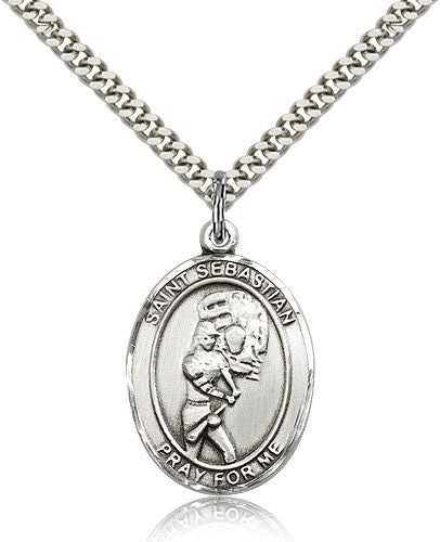 Sterling Silver St. Sebastian Softball Medal with Chain Pendant