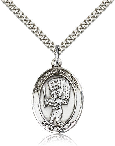 Sterling Silver Guardian Angel Baseball Medal with Chain Pendant