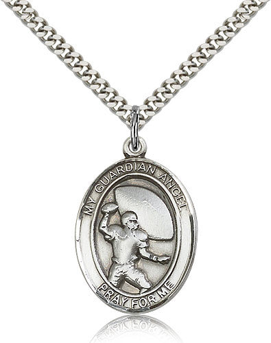 Sterling Silver Guardian Angel Football Medal with Chain Pendant