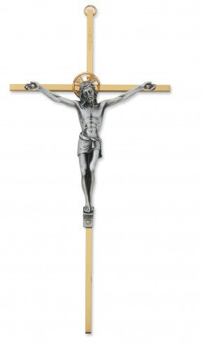 "10"" Two Tone Brass Crucifix"