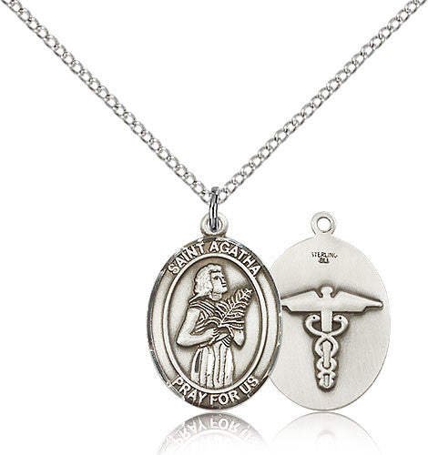 Sterling Silver St. Agatha Nurse Medal with Chain Pendant