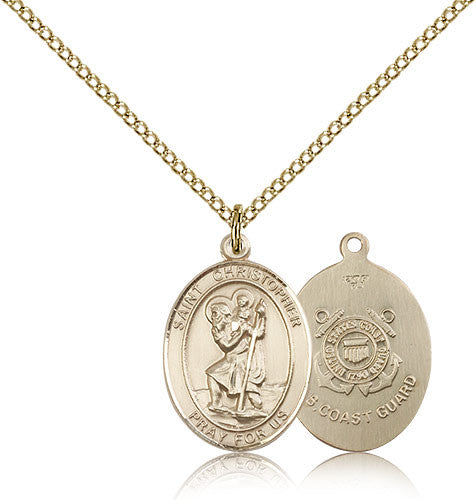 Gold Filled St. Christopher - Coast Guard Medal with Chain Pendant