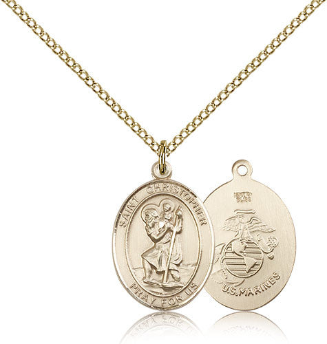 Gold Filled St. Christopher - Marines Medal with Chain Pendant