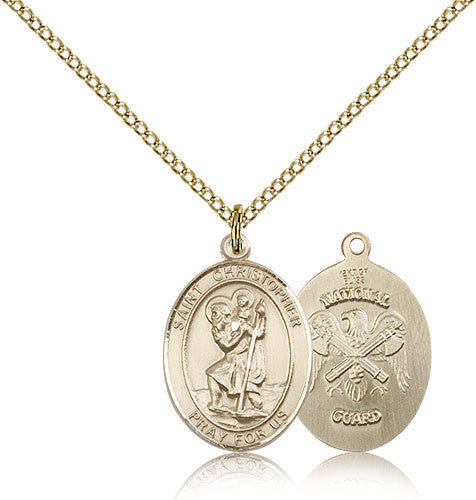 Gold Filled St. Christopher - National Guard Medal with Chain Pendant